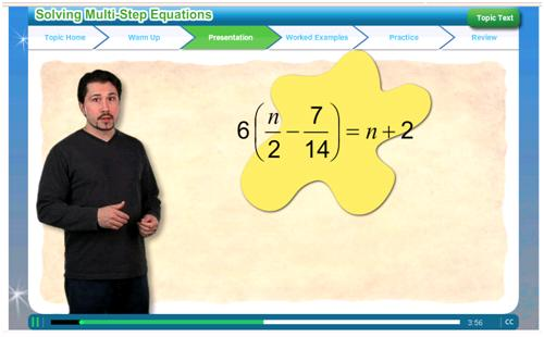 "Screenshot from the ""Solving Multi-Step Equations"""