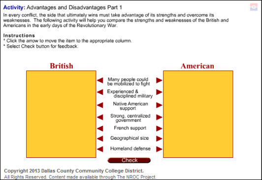 The American Revolution Lesson Screenshot