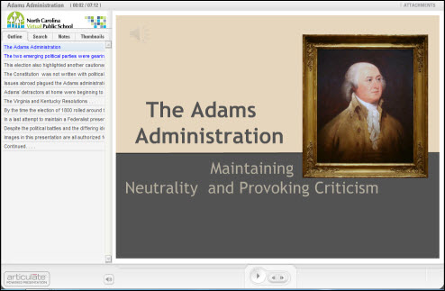 NCVPS Example image: The Adams Administration
