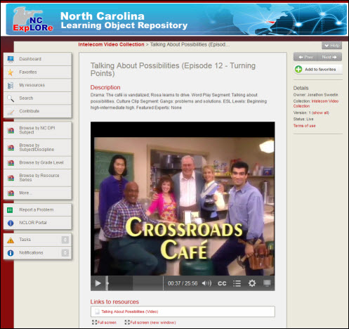 Example: screenshot of crossroads cafe video displayed in NCLOR