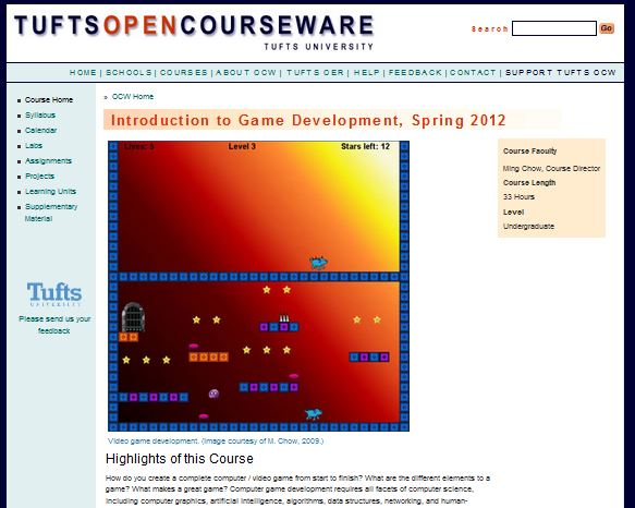 Intro to Game Development Course homepage